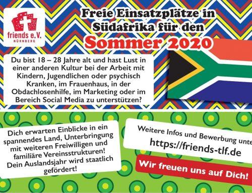 Freie Einsatzplätze in Südafrika für den Sommer 2020